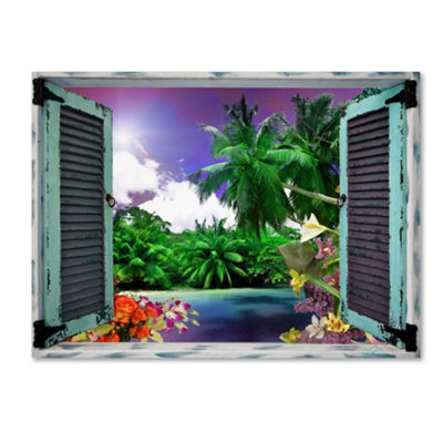 Trademark Fine Art Leo Kelly Tropical Window to Paradise I Giclee Canvas Art