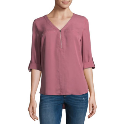 by&by Womens V Neck 3/4 Sleeve Crepe Blouse-Juniors