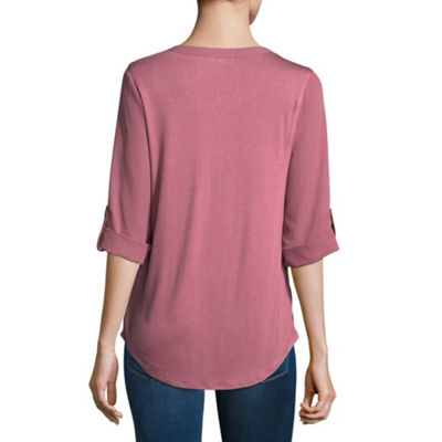 by&by 3/4 Sleeve V Neck Crepe Blouse-Juniors