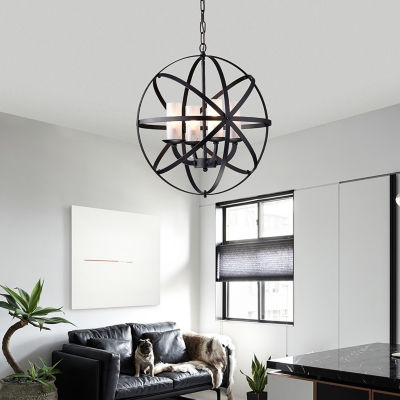 Warehouse Of Tiffany Mandisa 4-light Black-finish18-inch Chandelier