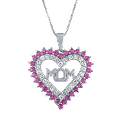Pink & White Lab-Created Sapphire Sterling Silver Pendant Necklace