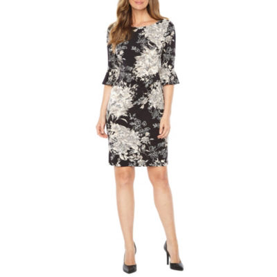Connected Apparel Short Sleeve Floral Sheath Dress