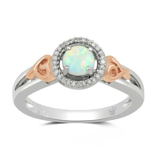 Hallmark Diamonds Womens White Opal Gold Over Silver Cocktail Ring