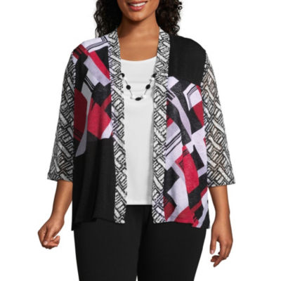 Alfred Dunner Barcelona Mixed Media Layered Blouse - Plus