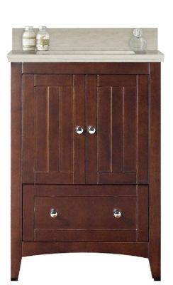 23.75-in. W Floor Mount Walnut Vanity Set For 3H4-in. Drilling Beige Top Biscuit UM Sink