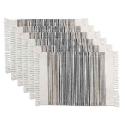 Design Imports Striped Fringe Placemat Set of 6