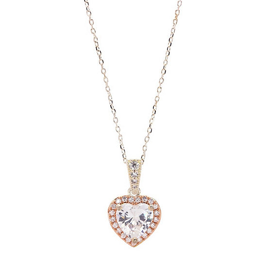 Sparkle Allure Cubic Zirconia Womens 3 1/4 CT. T.W. Lab Created Clear Cubic Zirconia Pure Silver Over Brass Heart Pendant