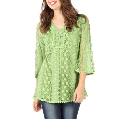 Fully Lined Lace Blouse With Studs