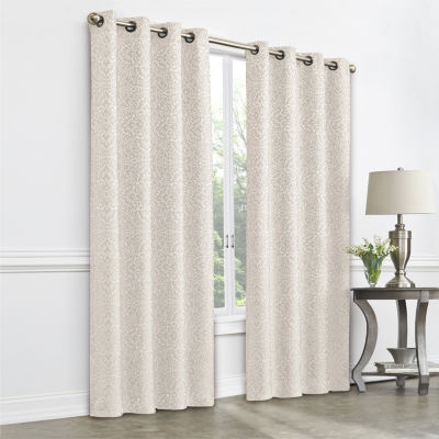 JCPenney Home Plaza Tapestry Light-Filtering Grommet-Top Single Curtain Panel