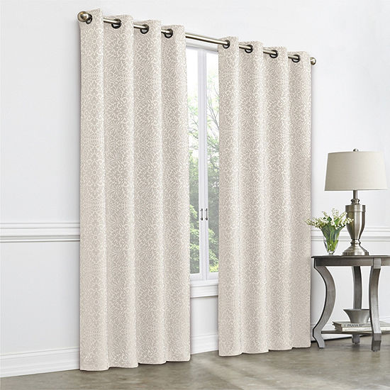 JCPenney Home Plaza Tapestry Room Darkening Grommet-Top Curtain Panel