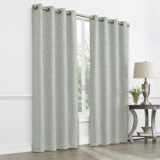 JCPenney Home Plaza Tapestry Blackout Grommet-Top Single Curtain Panel