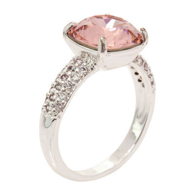 City Rocks Swarovski - Made With Swarovski Elements Womens Lab Created Pink Pure Silver Over Brass Cocktail Ring