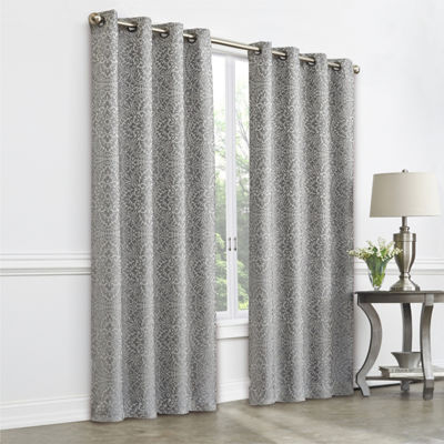 JCPenney Home Plaza Tapestry Blackout Grommet-Top Curtain Panel