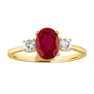Womens Genuine Red Ruby 10K Gold Cocktail Ring