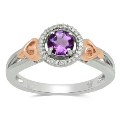 Womens Purple Amethyst Gold Over Silver Cocktail Ring