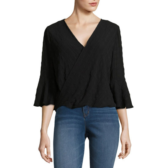 by&by 3/4 Sleeve V Neck Chiffon Blouse-Juniors