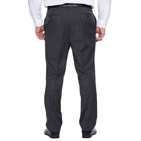 Shaquille O'Neal XLG Gray Plaid Stretch Suit Pants - Big and Tall