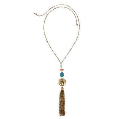 Mixit Coral Turq Pearl Womens Pendant Necklace