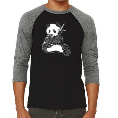 Los Angeles Pop Art Men's Big & Tall Raglan Baseball Word Art T-shirt - ENDANGERED SPECIES