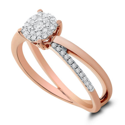 Womens 1/4 CT. T.W. Genuine White Diamond 14K Rose Gold Engagement Ring