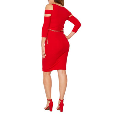 Bold Elements 3/4 Sleeve Belted Bodycon Dress