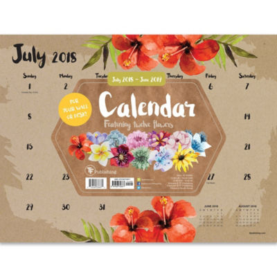 Tf Publishing July 2018 - June 2019 Floral Mini Desktop Calendar