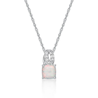 Womens Lab Created White Opal Sterling Silver Pendant