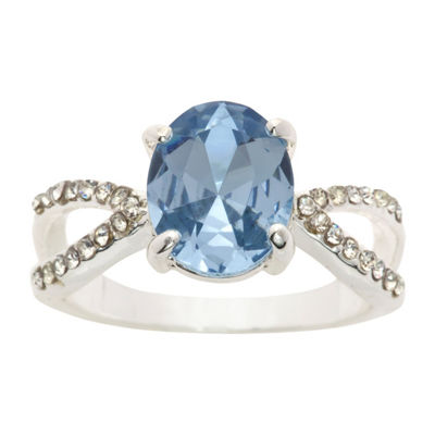 Sparkle Allure Ring Box Test Womens 3/4 CT. T.W. Lab Created Blue Pure Silver Over Brass Cocktail Ring