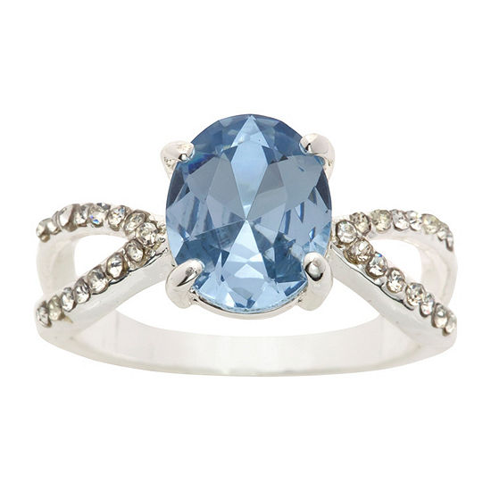 Sparkle Allure Womens 3/4 CT. T.W. Lab Created Blue Pure Silver Over Brass Cocktail Ring