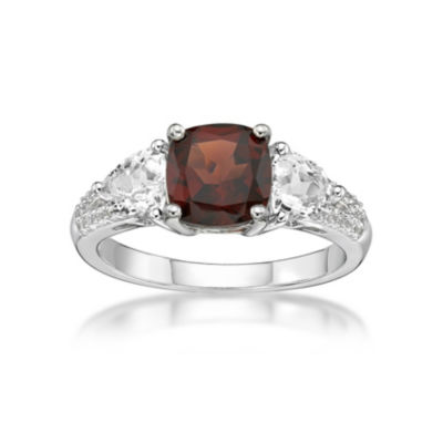 Womens Genuine Red Garnet Sterling Silver 3-Stone Cocktail Ring