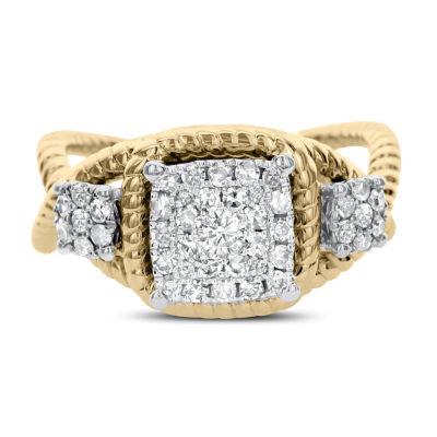 Womens 1/2 CT. T.W. Genuine White Diamond 14K Two Tone Gold Engagement Ring