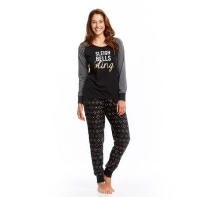 Holiday Black And Grey Fairisle 2 Piece Pajama Set -Women's