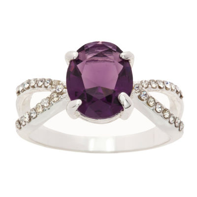 Sparkle Allure Ring Box Test Womens 3/4 CT. T.W. Lab Created Purple Pure Silver Over Brass Cocktail Ring