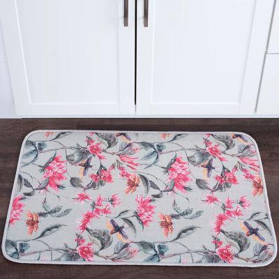 Tayse Flower Garden Transitional Floral Anti-Fatigue Comfort Kitchen Mat