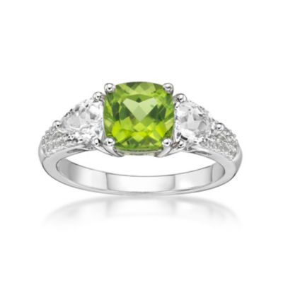 Womens Genuine Green Peridot Sterling Silver 3-Stone Cocktail Ring