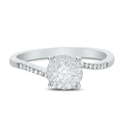 Womens 1/4 CT. T.W. Genuine White Diamond 14K White Gold Engagement Ring