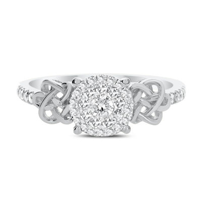 Womens 1/3 CT. T.W. Genuine White Diamond 14K White Gold Engagement Ring