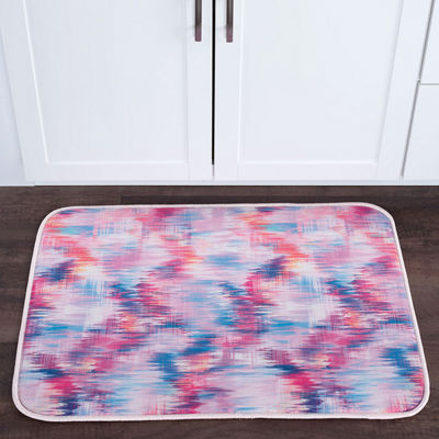 Tayse Brushed Diamonds Contemporary Abstract Anti-Fatigue Comfort Kitchen Mat