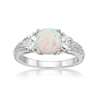 Womens Lab Created White Opal Sterling Silver 3-Stone Ring