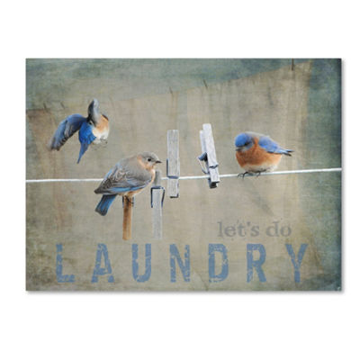 Trademark Fine Art Jai Johnson Laundry Day Bluebirds Giclee Canvas Art