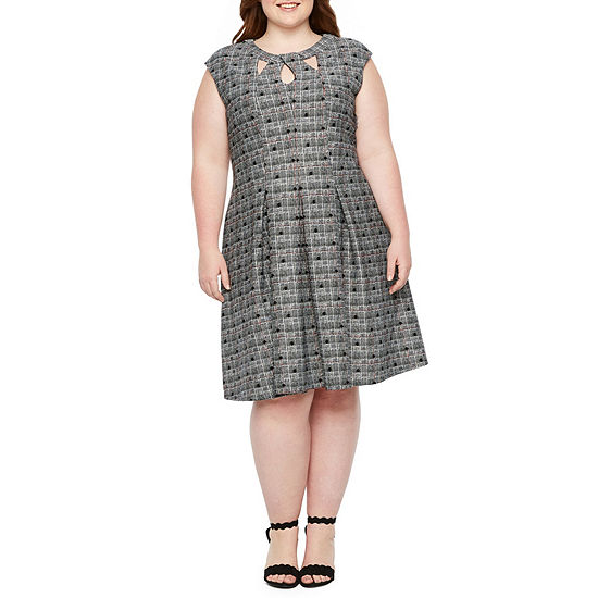 Danny & Nicole Sleeveless Plaid Fit & Flare Dress - Plus