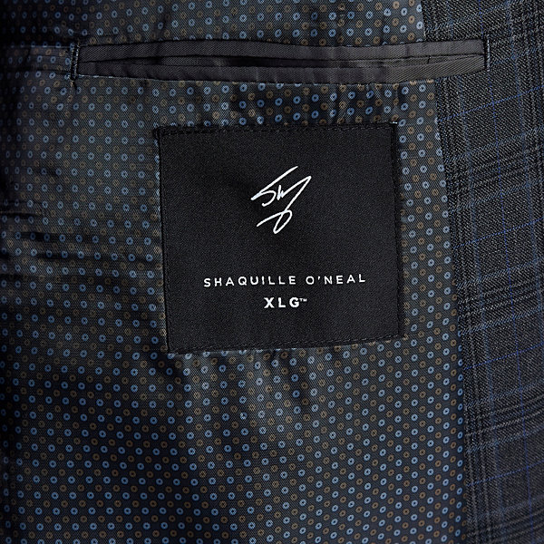 Shaquille O'Neal XLG Gray Plaid Stretch Suit Jacket - Big and Tall