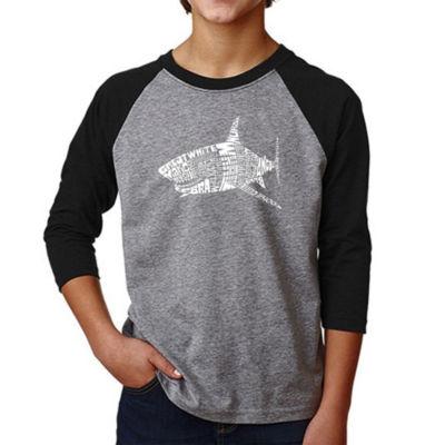 Los Angeles Pop Art Boy's Raglan Baseball Word Art T-shirt - SPECIES OF SHARK