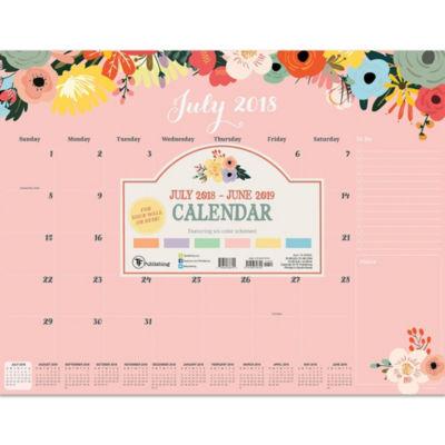 July 2018 - June 2019  Floral Desk Pad Calendar