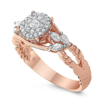 Womens 1/2 CT. T.W. Genuine White Diamond 14K Rose Gold Engagement Ring