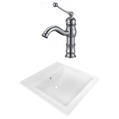 21.5-in. W 1 Hole Ceramic Top Set In White Color -CUPC Faucet Incl.
