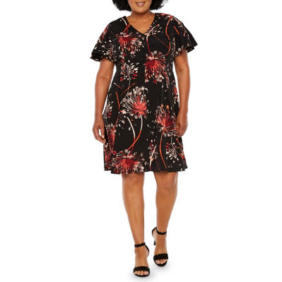 London Times Short Sleeve Fit & Flare Dress - Plus