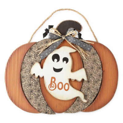 JCPenney Home Pumpkin With Ghost Wall Sign