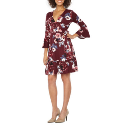 Alyx 3/4 Sleeve Floral Wrap Dress