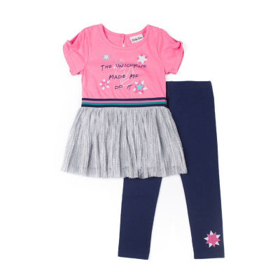 Little Lass 2-pc Unicorn Glitter Top Legging Set-Baby Girls